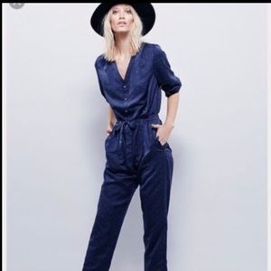 NWOT Free People Navy Polka Dot Jumpsuit